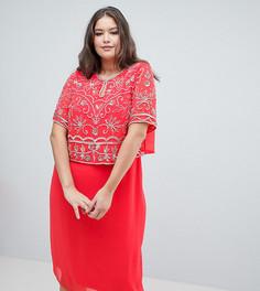 Декорированное платье-футляр 2 в 1 Frock And Frill Plus - Розовый