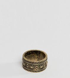 Золотистое кольцо с ацтекским узором ASOS DESIGN Plus - Золотой