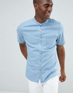 Светлая облегающая эластичная джинсовая рубашка с воротником на пуговице ASOS DESIGN - Синий