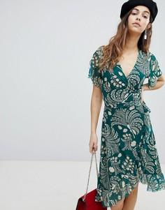 Платье с запахом и оборкой Soaked In Luxury - Зеленый