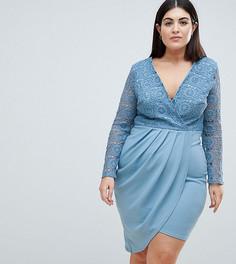 Асимметричное платье с кроше и запахом Club L Plus - Синий