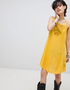 Платье-комбинация с резной отделкой Free People Tulum - Желтый