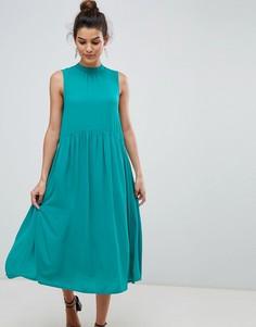 Платье миди с высоким воротом Y.A.S - Синий