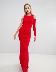 Платье макси с одним рукавом и вырезом на плече Forever Unique - Красный