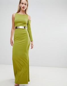 Платье макси с одним рукавом и вырезом на плече Forever Unique - Зеленый