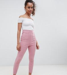 Облегающие брюки с завышенной талией ASOS DESIGN Petite - Розовый