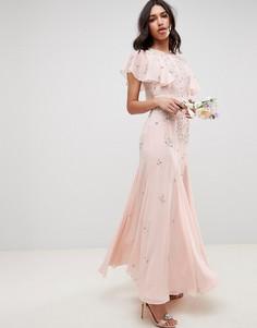 Декорированное платье макси ASOS DESIGN bridesmaid - Розовый