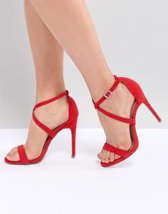 Босоножки на каблуке с перекрестными ремешками New Look - Красный