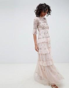 Платье макси с вышивкой Needle & Thread - Розовый