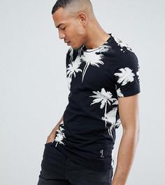 Обтягивающая футболка с пальмовым принтом Religion TALL - Черный