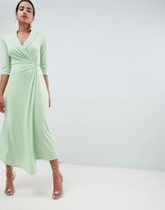 Платье-рубашка миди с застежкой на английскую булавку ASOS DESIGN - Зеленый