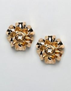 Золотистые металлические серьги с цветочной отделкой ASOS DESIGN - Золотой