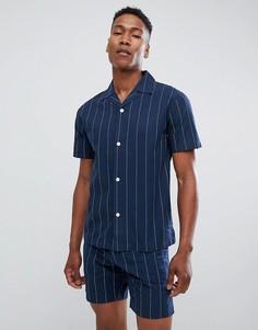 Темно-синяя рубашка с короткими рукавами и отложным воротником Lindbergh - Серый
