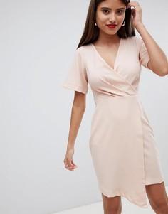 Платье миди с запахом Closet London - Розовый