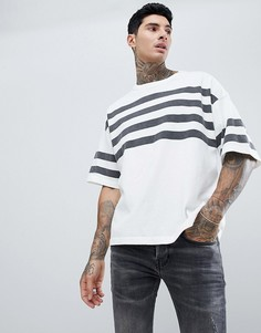 Белая плотная oversize-футболка с полосками AllSaints - Белый
