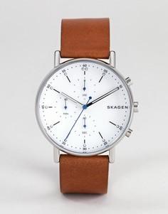 Часы с кожаным ремешком Skagen SKW6462 - Коричневый