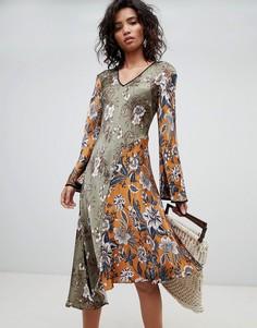 Платье миди с длинными рукавами и принтом Ghost - Мульти