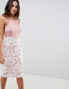 Платье миди с кружевом и глубоким вырезом на спине Girl In Mind - Розовый