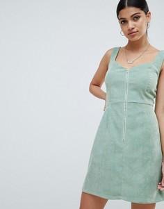 Вельветовое платье мини с молнией Missguided - Зеленый