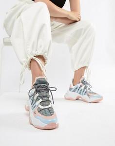 Кроссовки в клетку со вставками пастельного оттенка и толстой подошвой Jeffrey Campbell - Мульти