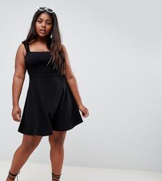 Короткое приталенное платье с квадратным вырезом Boohoo Plus - Черный