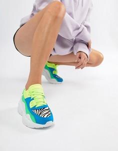 Яркие кроссовки со вставками и толстой подошвой Jeffrey Campbell - Мульти