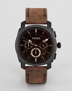 Часы с кожаным ремешком Fossil FS4656 Machine - Коричневый