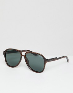 Солнцезащитные очки-авиаторы в черепаховой оправе Quay Australia - Коричневый