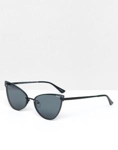 Большие черные солнцезащитные очки кошачий глаз Quay Australia Lady Luck - Черный