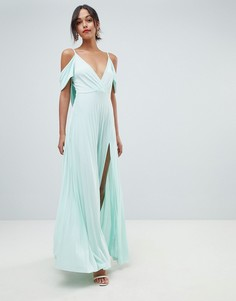 Платье макси с открытыми плечами и плиссировкой ASOS DESIGN - Зеленый
