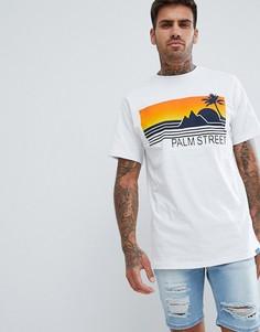 Белая футболка с принтом Pull&Bear - Белый Pull&Bear
