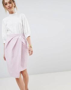 Юбка миди с запахом Closet London - Розовый
