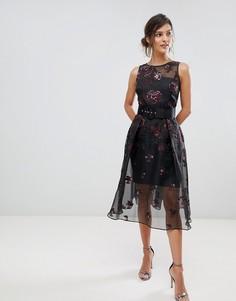 Полупрозрачное многослойное платье с жаккардовым принтом Coast Izzy - Темно-синий