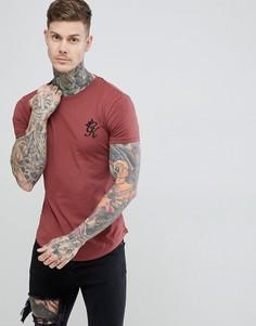 Удлиненная футболка цвета ржавчины Gym King - Красный