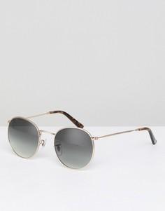 Круглые солнцезащитные очки в золотистой оправе Pretty Green - Золотой