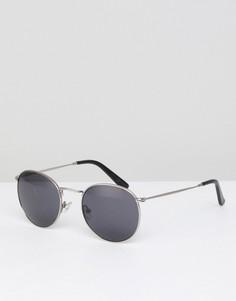 Серебристые круглые солнцезащитные очки Pretty Green Lenon - Серебряный