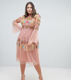 Короткое приталенное платье с вышивкой и кисточками Frock And Frill Plus - Розовый