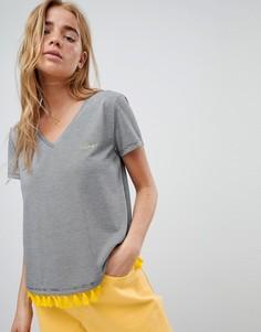Укороченная футболка с контрастной бахромой Nocozo - Черный
