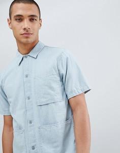 Джинсовая рубашка с короткими рукавами Nudie Jeans Co Svante - Синий