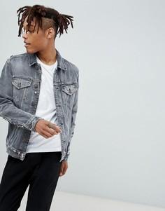 Выбеленная черная джинсовая куртка с потертостями AllSaints - Черный
