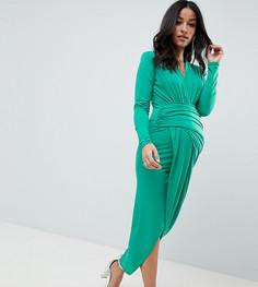 Зеленое платье макси с запахом и глубоким вырезом Queen Bee - Зеленый