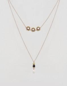 Ярусное ожерелье с искусственным жемчугом Johnny Loves Rosie Charcole - Золотой