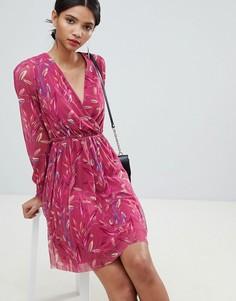 Платье с запахом и цветочным принтом Y.A.S - Мульти