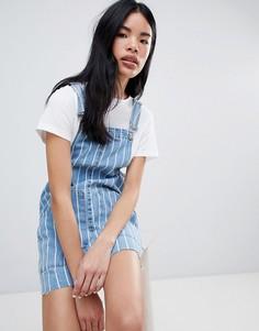 Джинсовое платье-комбинезон в полоску Pull&Bear - Синий Pull&Bear