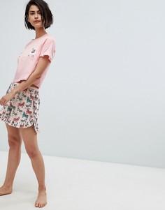 Пижамные шорты от комплекта с принтом ламы Vero Moda - Мульти