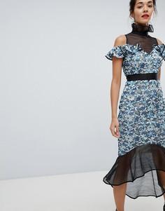 Кружевное платье миди Elliatt - Синий