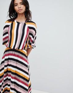 Платье миди в полоску с асимметричным подолом Y.A.S - Мульти