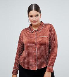 Атласная блузка в горошек Missguided Plus - Красный