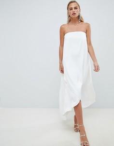 Белое атласное длинное платье бандо ASOS DESIGN - Белый