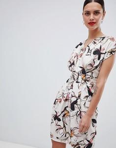 Платье миди с широкими рукавами Closet London - Кремовый